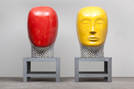 Glazed ceramics | L: 71h x 38w x 43d in. R: 71h x 43w x 47d in. | Photo credit Dirk Bakker