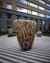 Hand-built glazed ceramics, granite paver