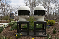 Untitled, Heads, 1996 | hand built and glazed ceramic and steel base, L: 72h x 25.5w x 32.5d / R: 70.5h x 25.5w x 29d in. | photo credit: Takashi Hatakeyama